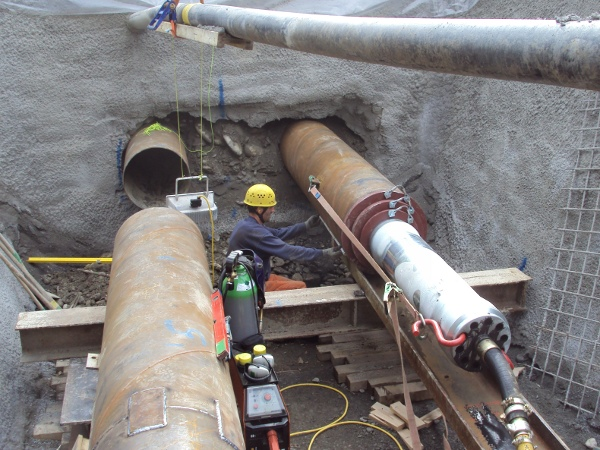 Stahlrohr Rammung 17 m DN 600 mm© TERRA AG, Reiden, Switzerland